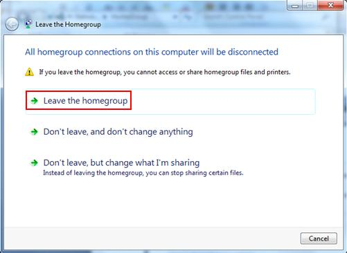 leave homegroup in win7