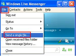 Live Messenger File Transfer or Send