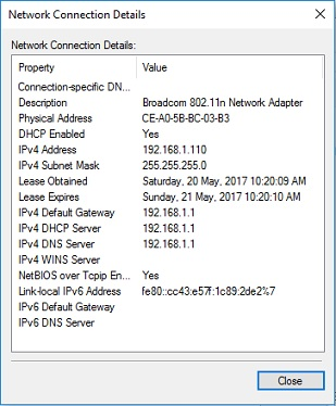 network connection details in Windows 10