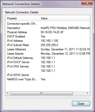 network connection details in Windows 7