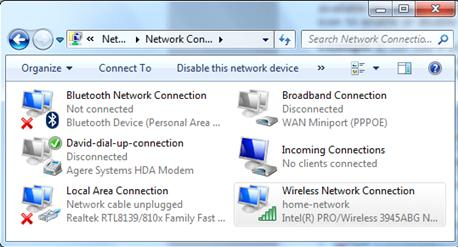 network connection list window