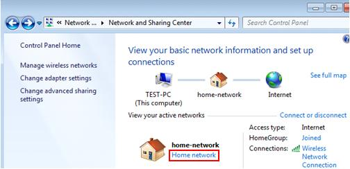 Windows 7 network location type for file sharing
