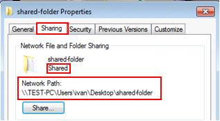 network path for file sharing in Windows 7
