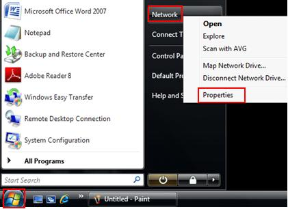 network properties in Windows Vista