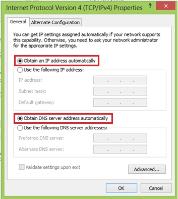 obtain IP address automatically in Windows 8