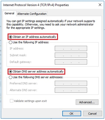 obtain ip and dns server addresses automatically
