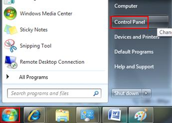 open Control Panel in Windows 7