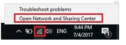 open Windows 10 network and sharing center