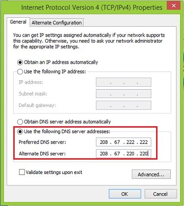 Opendns Setting