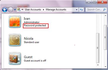 password protected username