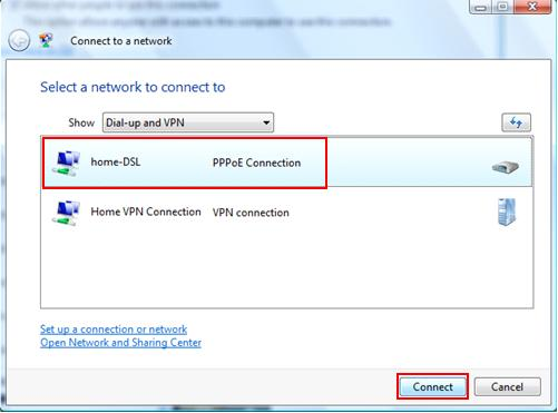 PPPoE DSL or Cable connection in Windows Vista