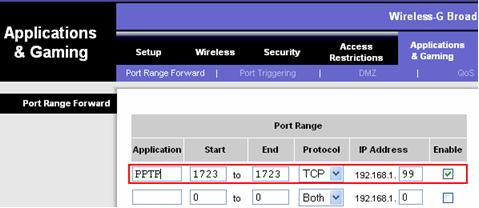 PPTP VPN port forwarding - port TCP-1723