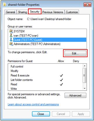Windows 7 - security setting for shared file folder