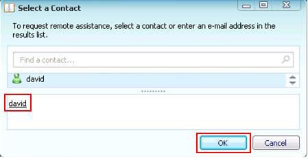 Select a Contact for Remote Assistance