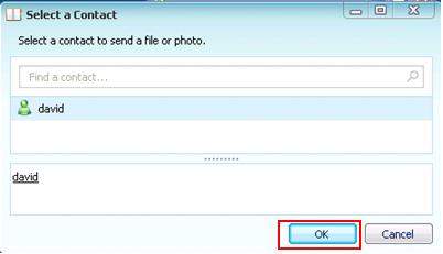 Windows Live Messenger - Select Contact to Send File or Photo
