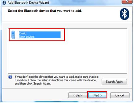 select the bluetooth device that you want to add