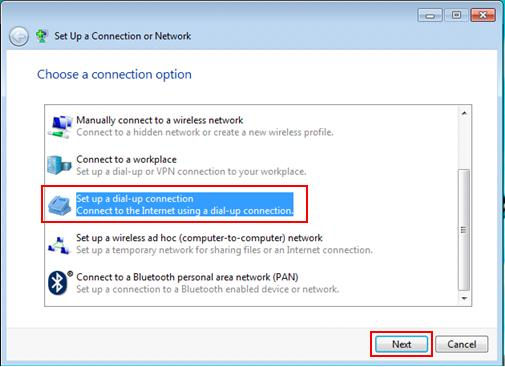 Windows 7 - set up dial up connection
