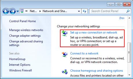 set up dial up internet connection