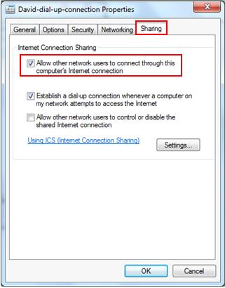 share dial up internet connection in Windows 7