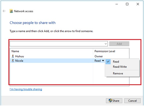 Windows 10 share to specific people