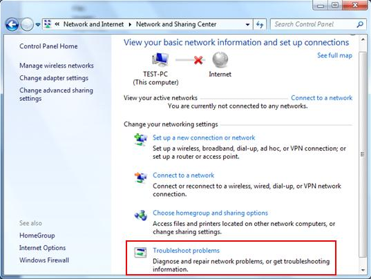 troubleshoot network problems in Windows 7