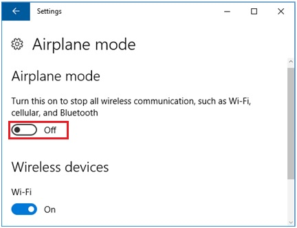 turn on or off the airplane mode