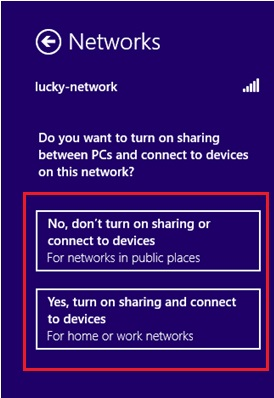 turn on sharing or connect to devices