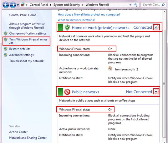 turn windows firewall on or off