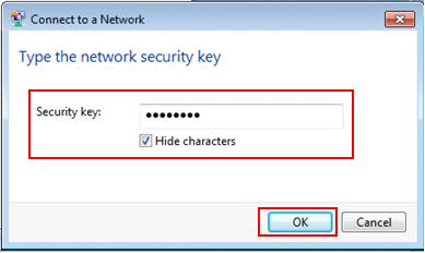 Windows 7 - type security key to join wireless network