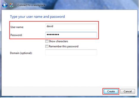 Type Your User Name and Password