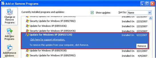 Update for Windows XP KB922120