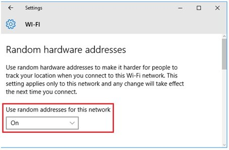 use random addresses for this wireless network