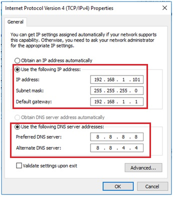 use the following ip and dns servers addresses