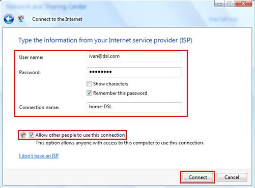 username password for PPPoE DSL or Cable broadband Internet