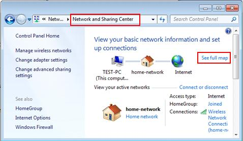 view full network map in Win7
