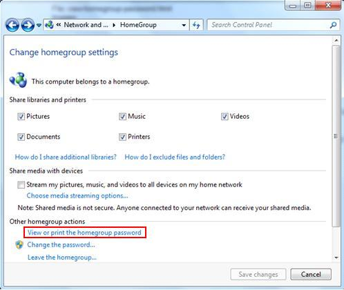 view or print homegroup password in Windows 7