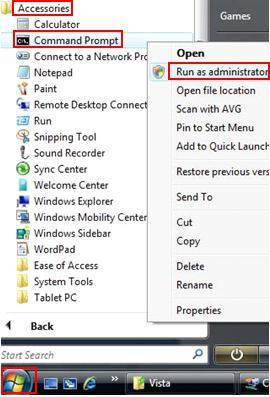 Vista Command Prompt Run as Administrator