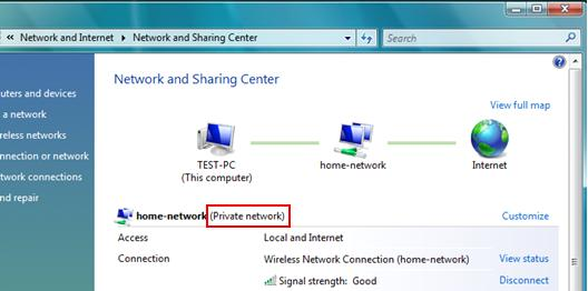 Windows Vista - Set network location type as Private Network