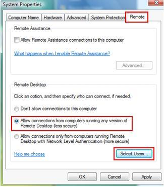 Vista Remote Desktop Setting