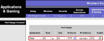 web server port forwarding