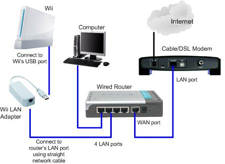 using wii lan adapter to access internet through wired network