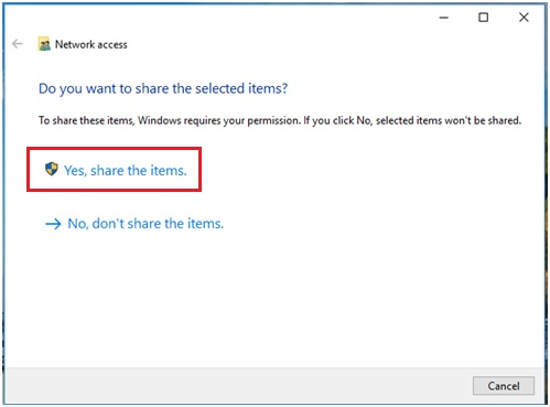 Windows 10 share the items
