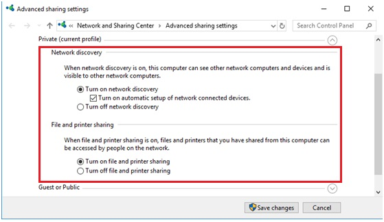 Windows 10 turn on file and printer sharing