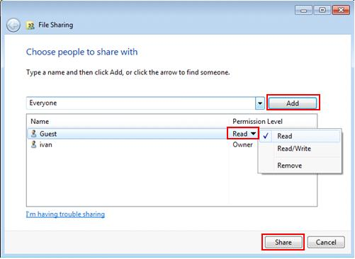win7 file sharing - choose people to share with