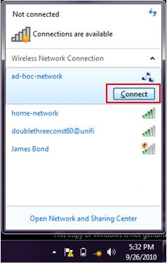 Windows 7 - connect to ad hoc wireless network