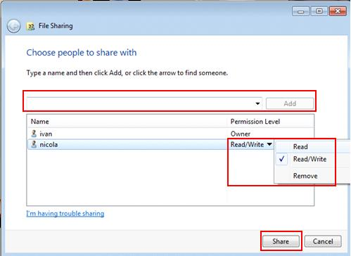select users for password protected file sharing