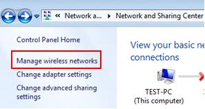 Windows 7 - manage wireless networks