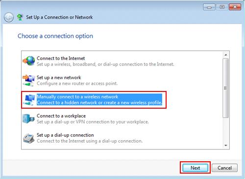 Windows 7 wireless networking -  manually connect to a wireless network