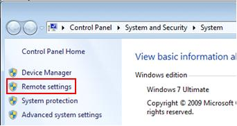 Win7 remote desktop settings