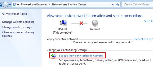 Windows 7 network - set up new wireless connection